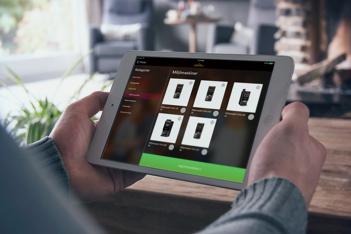 cafe bars digitala lösning på en surfplatta