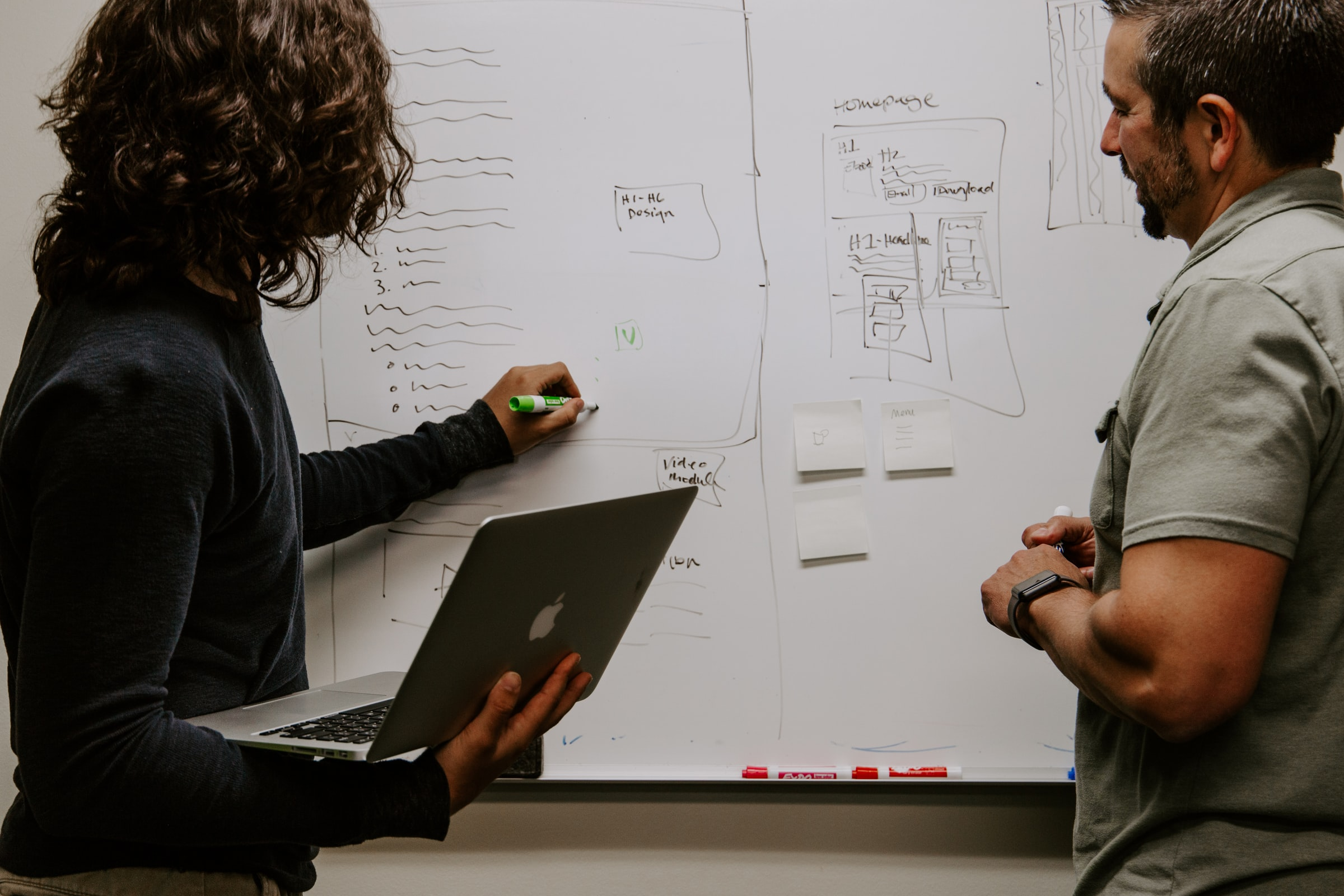 två manliga kollegor skissar på en whiteboard